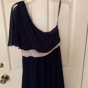 Navy one shoulder dress. Smoke free home